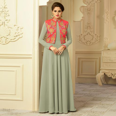 Light Grey Colored Party Wear Embroidered Georgette-Art Silk Gown