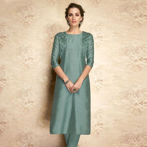 Intricate Teal Grey Colored Partywear Embroidered Viscose Kurti