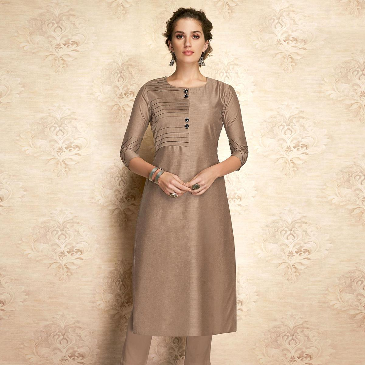 Arresting Brown Colored Partywear Embroidered Viscose Kurti