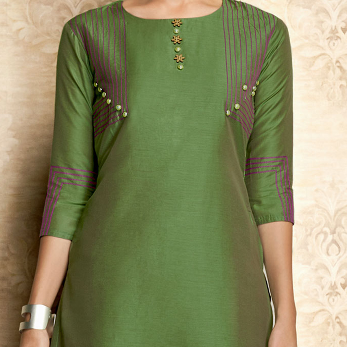 Desirable Green Colored Partywear Embroidered Viscose Kurti