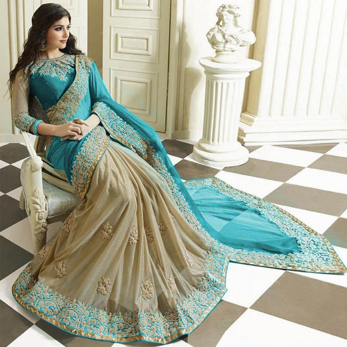 Aqua Blue - Beige Embroidered Half & Half Saree