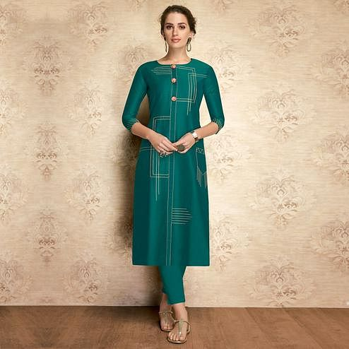 Trendy Teal Green Colored Partywear Embroidered Viscose Kurti