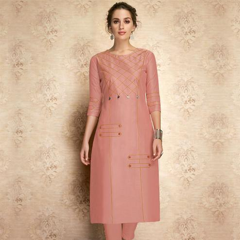 Elegant Pink Colored Partywear Embroidered Viscose Kurti