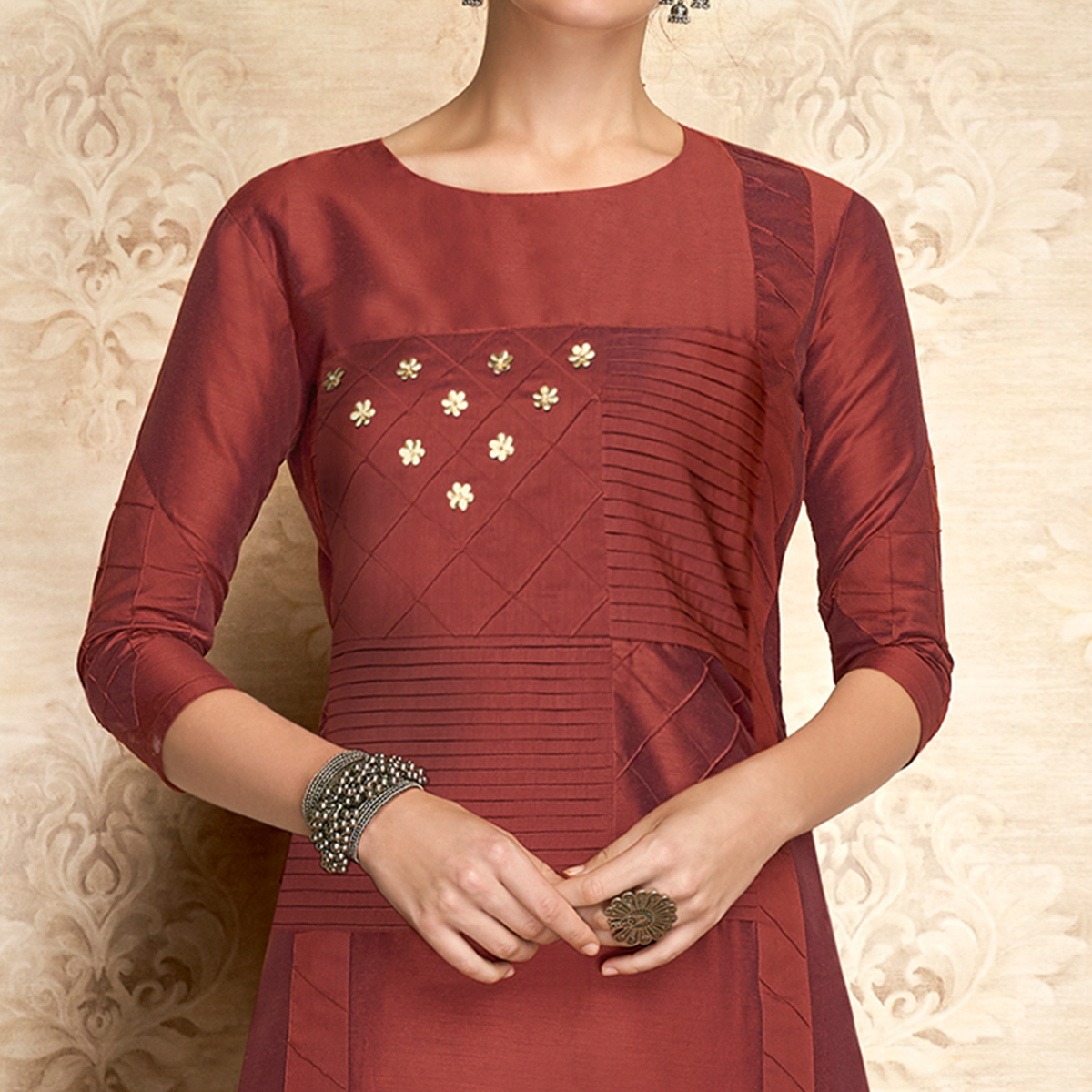 Radiant Maroon Colored Partywear Embroidered Viscose Kurti
