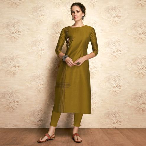 Pleasant Olive Green Colored Partywear Embroidered Viscose Kurti