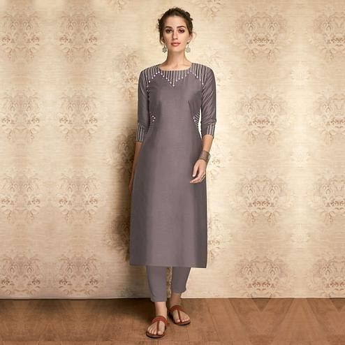 Opulent Grey Colored Partywear Embroidered Viscose Kurti