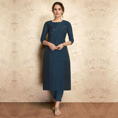 Energetic Navy Blue Colored Partywear Embroidered Viscose Kurti