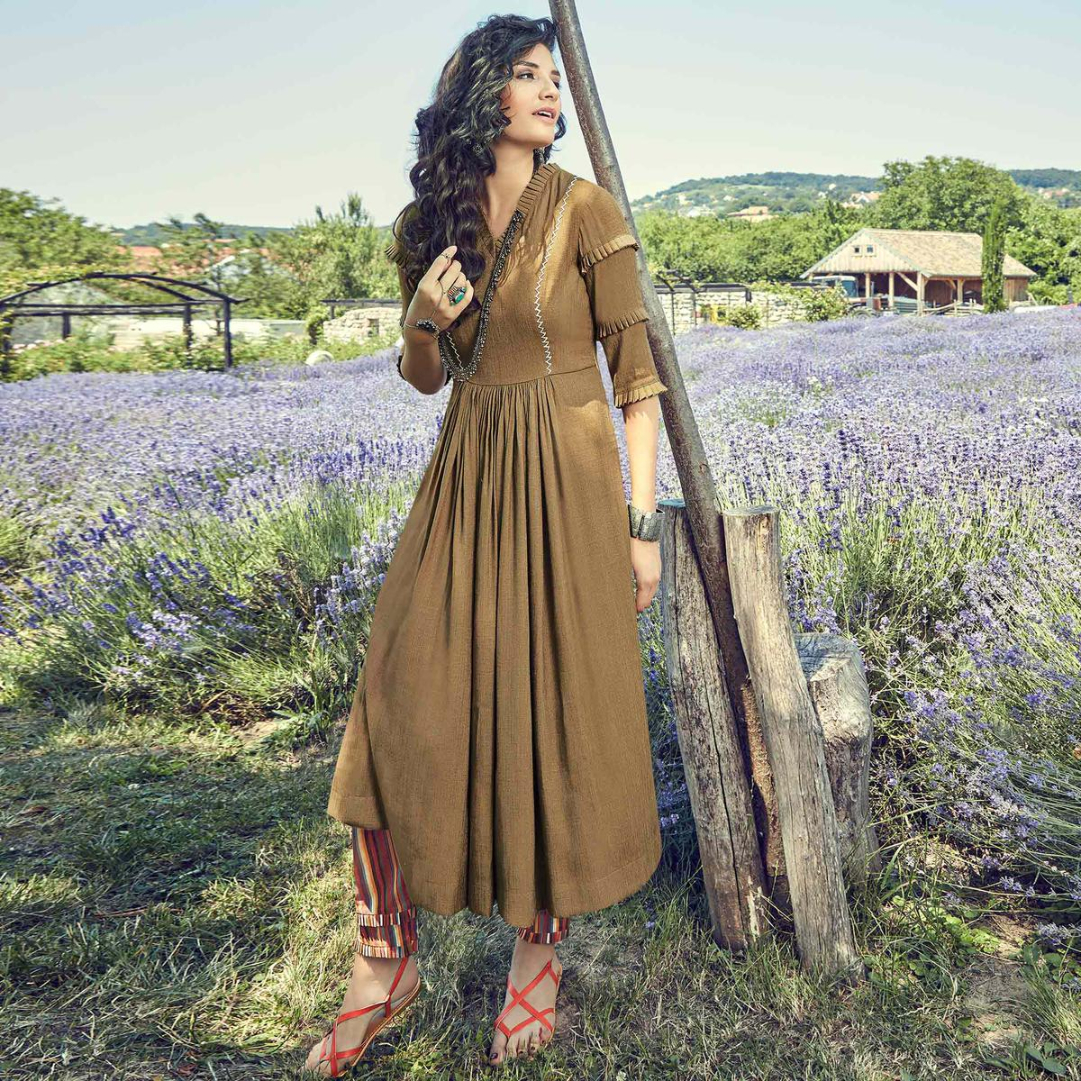 Preferable Brown Colored Partywear Embroidered Cotton Silk Kurti-Pant Set
