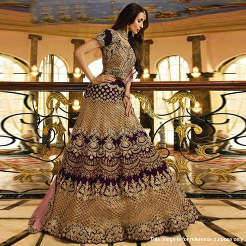 Mesmerising Wine Colored Partywear Embroidered Velvet-Tissue Lehenga Choli
