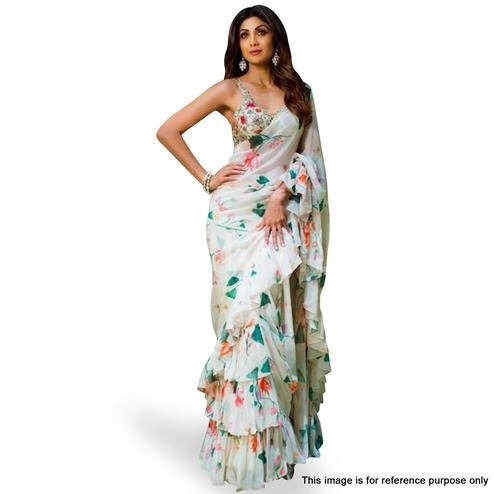 Pleasance White Colored Partywear Floral Digital Printed Georgette Saree