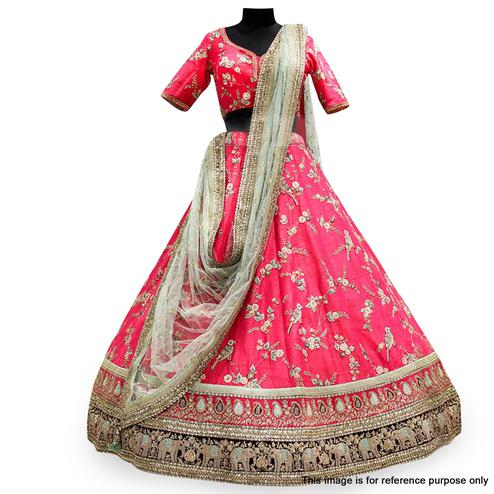 Breathtaking Pink Colored Partywear Embroidered Mulberry Silk Lehenga Choli