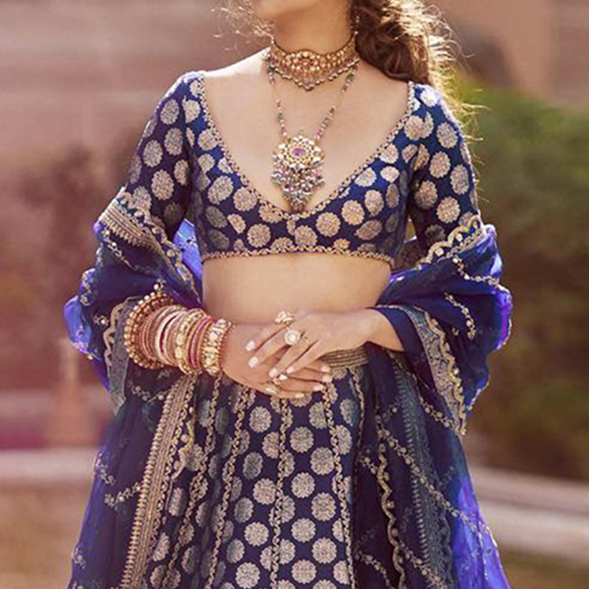 Ethnic Navy Blue Colored Partywear Embroidered Silk Lehenga Choli