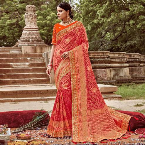 Graceful Red Colored Party Wear Floral Embroidered Silk Saree