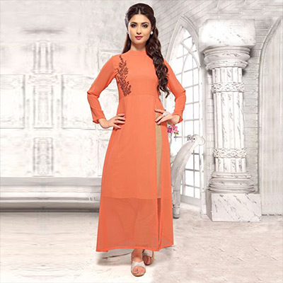 High Neck Peach Long Kurti