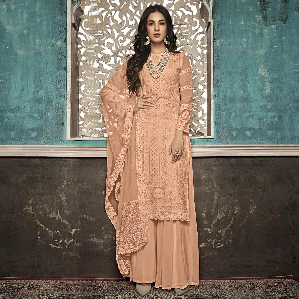 Jazzy Peach Colored Party Wear Embroidered Georgette Palazzo Suit