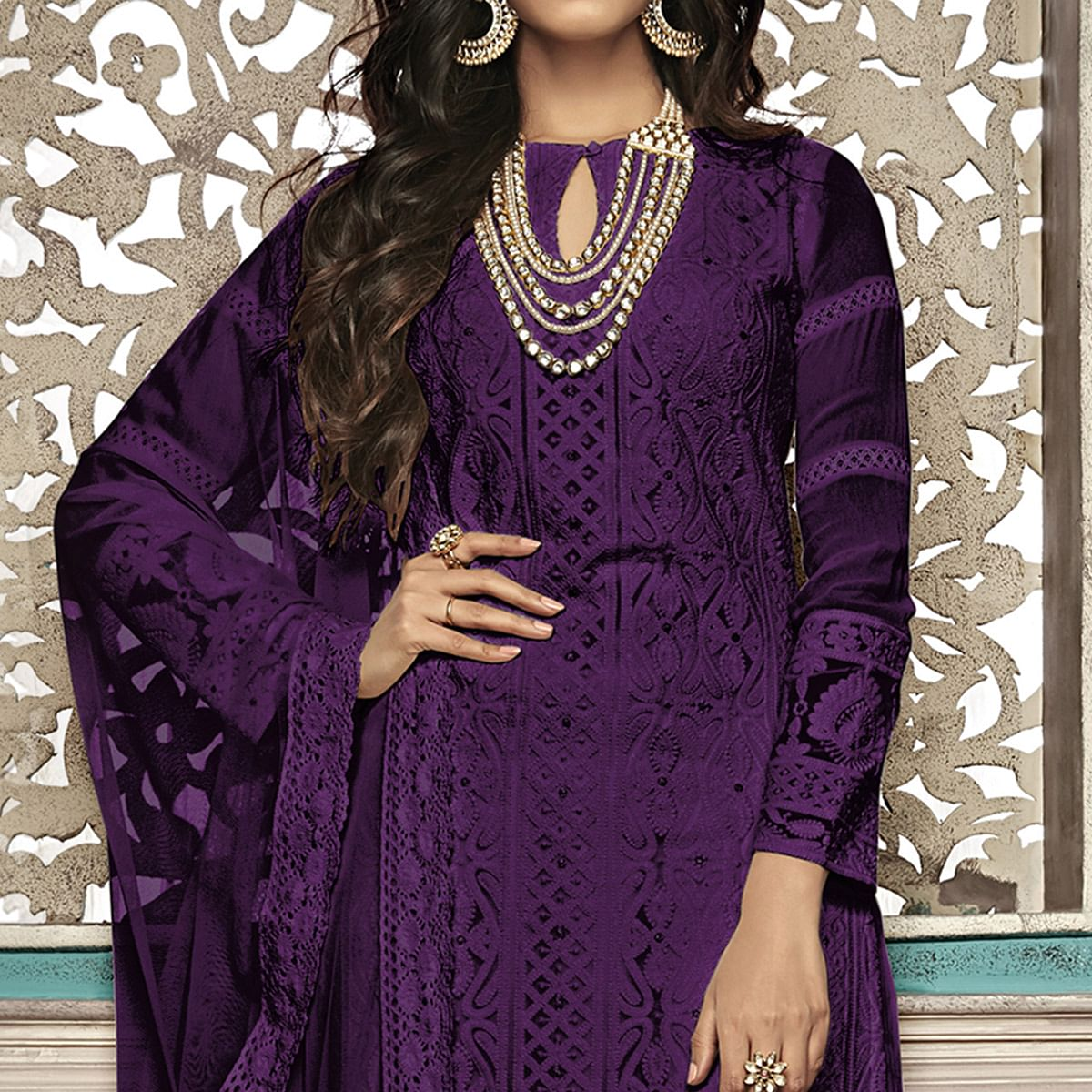 Captivating Purple Colored Party Wear Embroidered Georgette Palazzo Suit