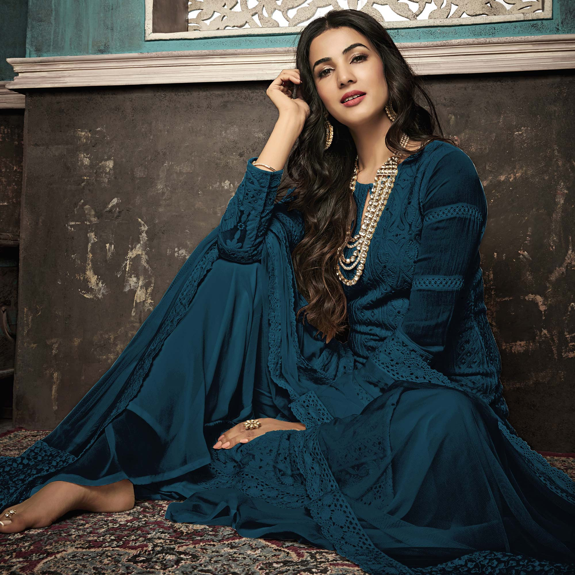 Opulent Teal Blue Colored Party Wear Embroidered Georgette Palazzo Suit