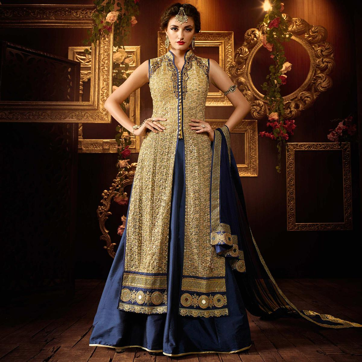 Cream - Midnight Blue Designer Lehenga Suit