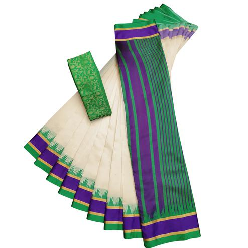 Blooming White-Green Colored Casual Printed Cotton Silk Saree