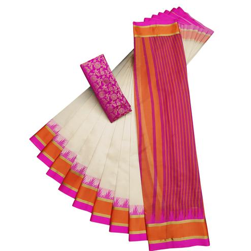 Trendy White-Pink Colored Casual Printed Cotton Silk Saree