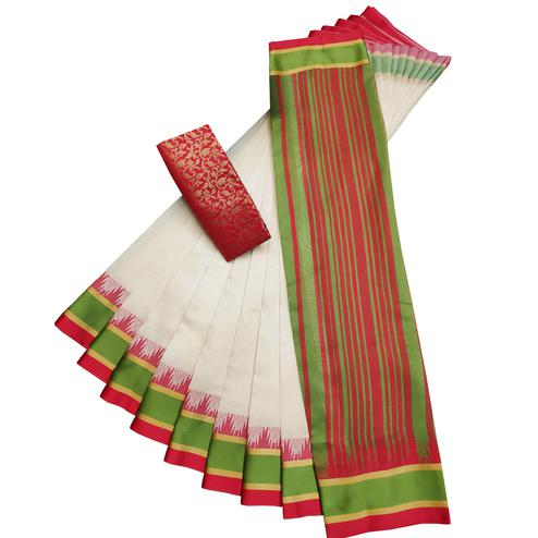 Groovy White-Red Colored Casual Printed Cotton Silk Saree