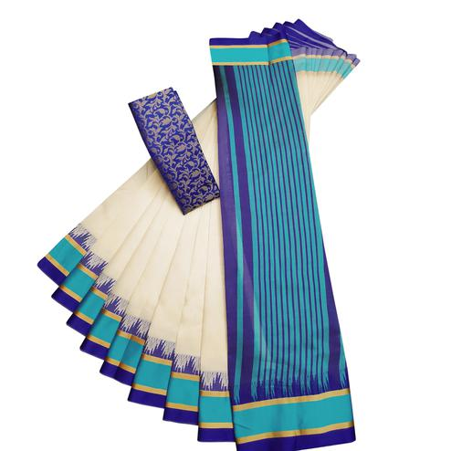 Exclusive White-Blue Colored Casual Printed Cotton Silk Saree