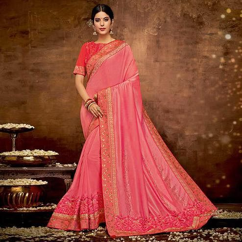Innovative Pink Colored Partywear Embroidered Satin-Georgette Saree