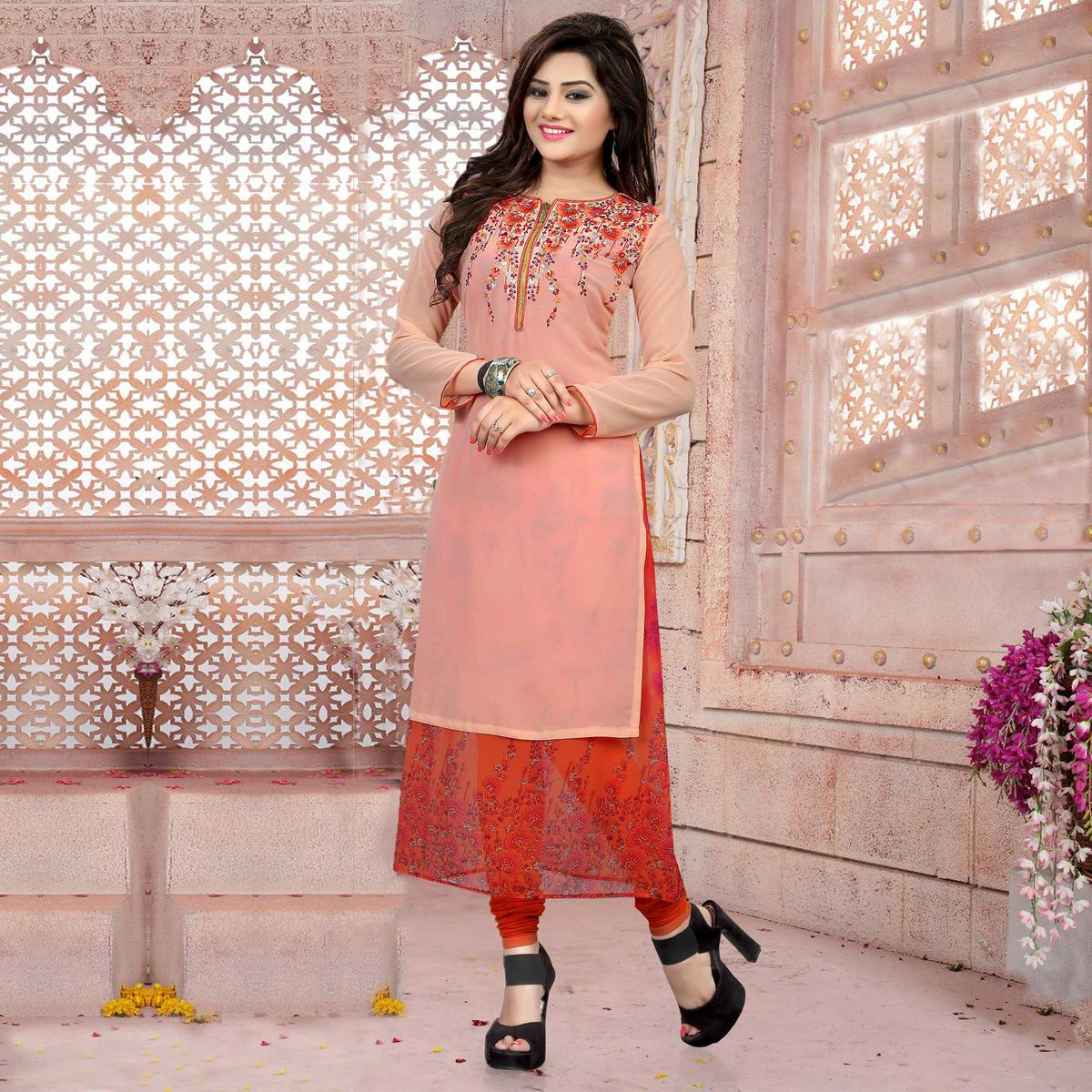 Pink - Orange Party Wear Stitched Kurti