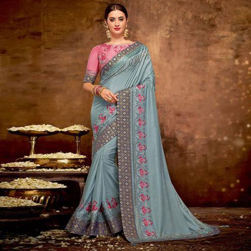Eye-catching Grey Colored Partywear Embroidered satin-Silk Saree