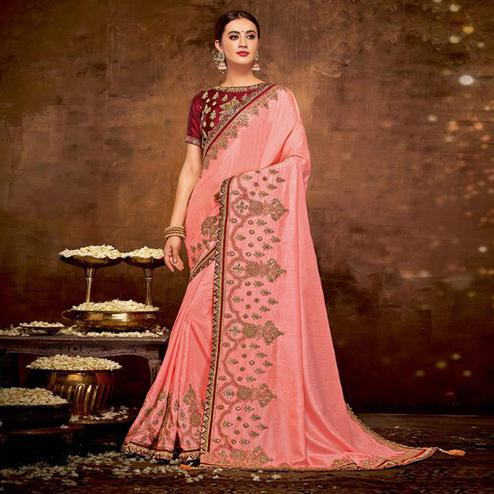Imposing Pink Colored Partywear Embroidered Silk-Georgette Saree