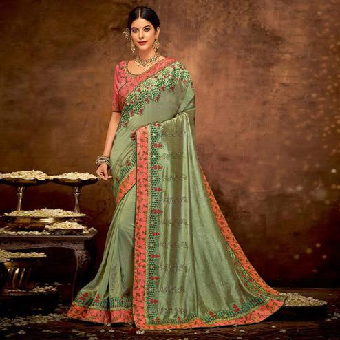 Lovely Olive Green Colored Partywear Embroidered Silk-Georgette Saree