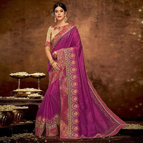 Majesty Magenta Pink Colored Partywear Embroidered Satin-Silk Saree