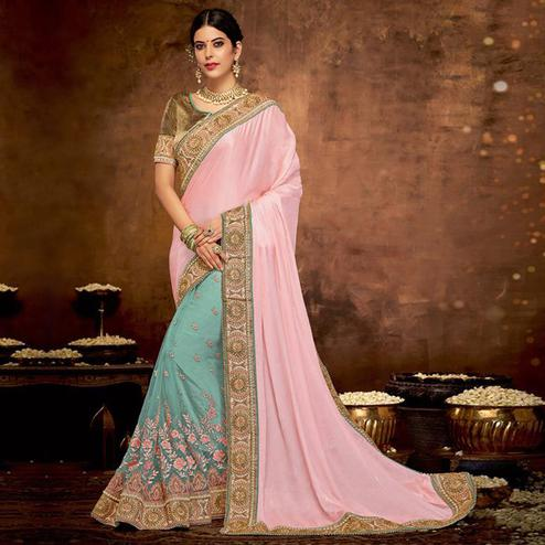 Impressive Pink-Aqua Green Colored Partywear Embroidered Satin-Georgette, Net Saree