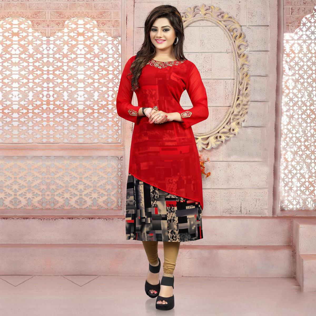 Red - Black Party Wear Kurti