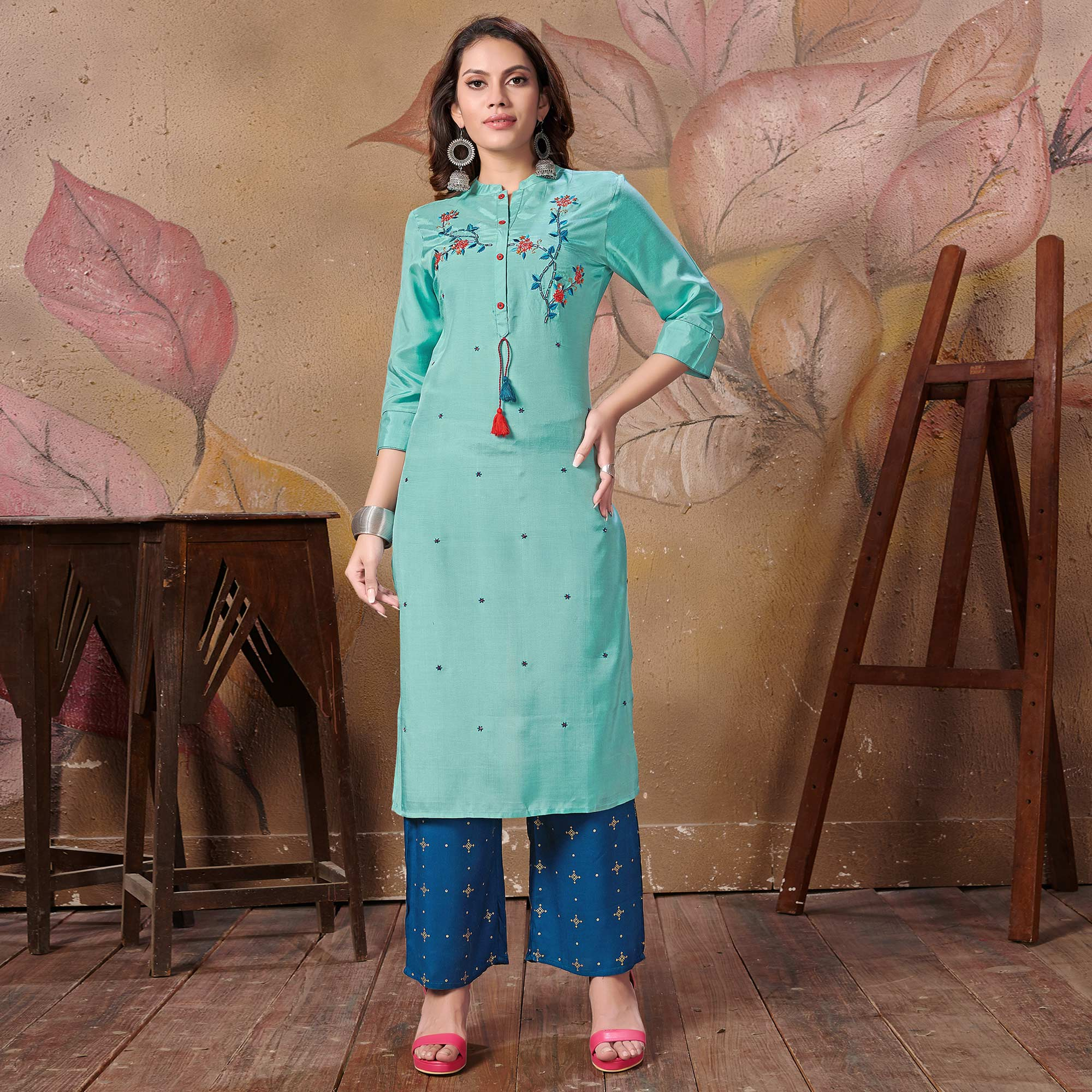 Radiant Teal Blue Colored Partywear Floral Embroidered Silk Kurti-Palazzo Set