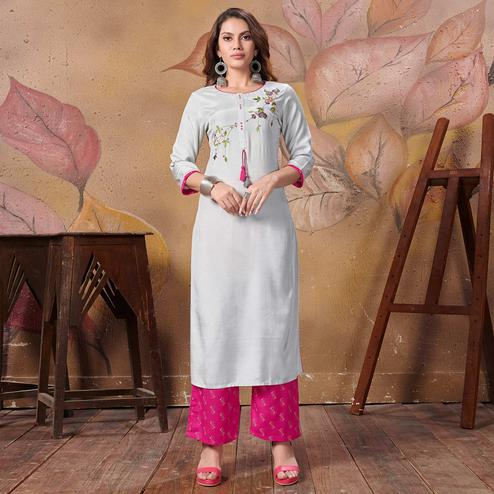 Pleasant Grey Colored Partywear Floral Embroidered Silk Kurti-Palazzo Set