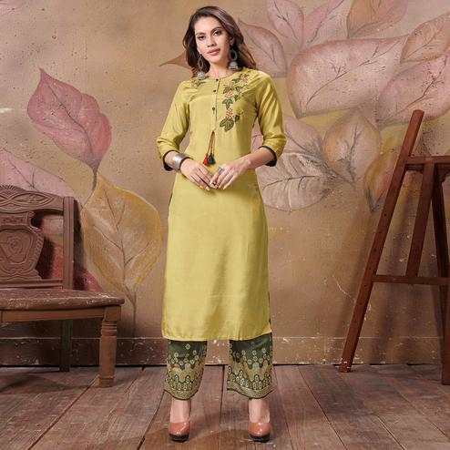 Opulent Green Colored Partywear Floral Embroidered Silk Kurti-Palazzo Set