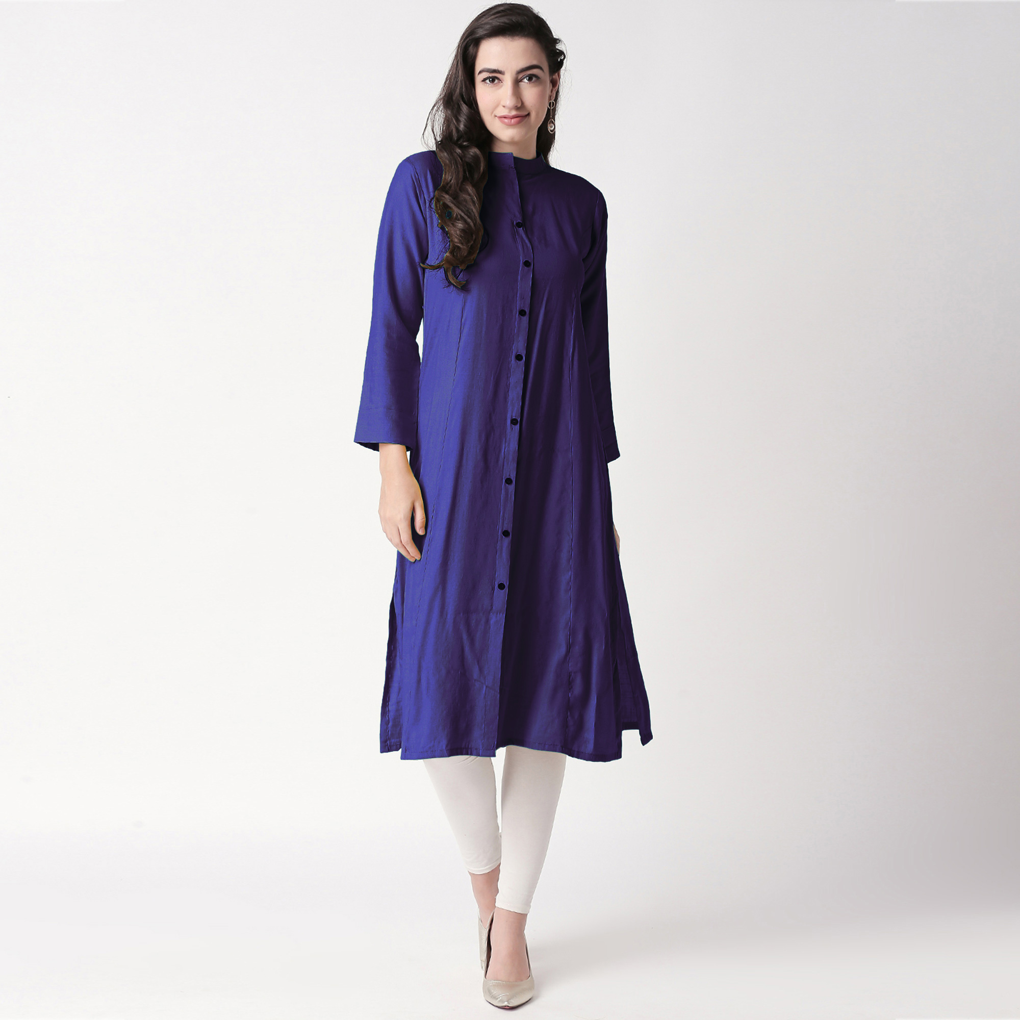 Intricate Purple Colored Casual Wear Cotton Kurti