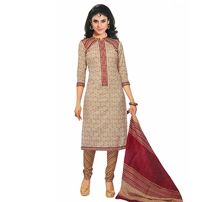 Cream Cotton Unstitched Salwar Suit