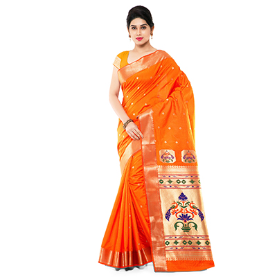 Orange Festival Wear Art Silk Saree
