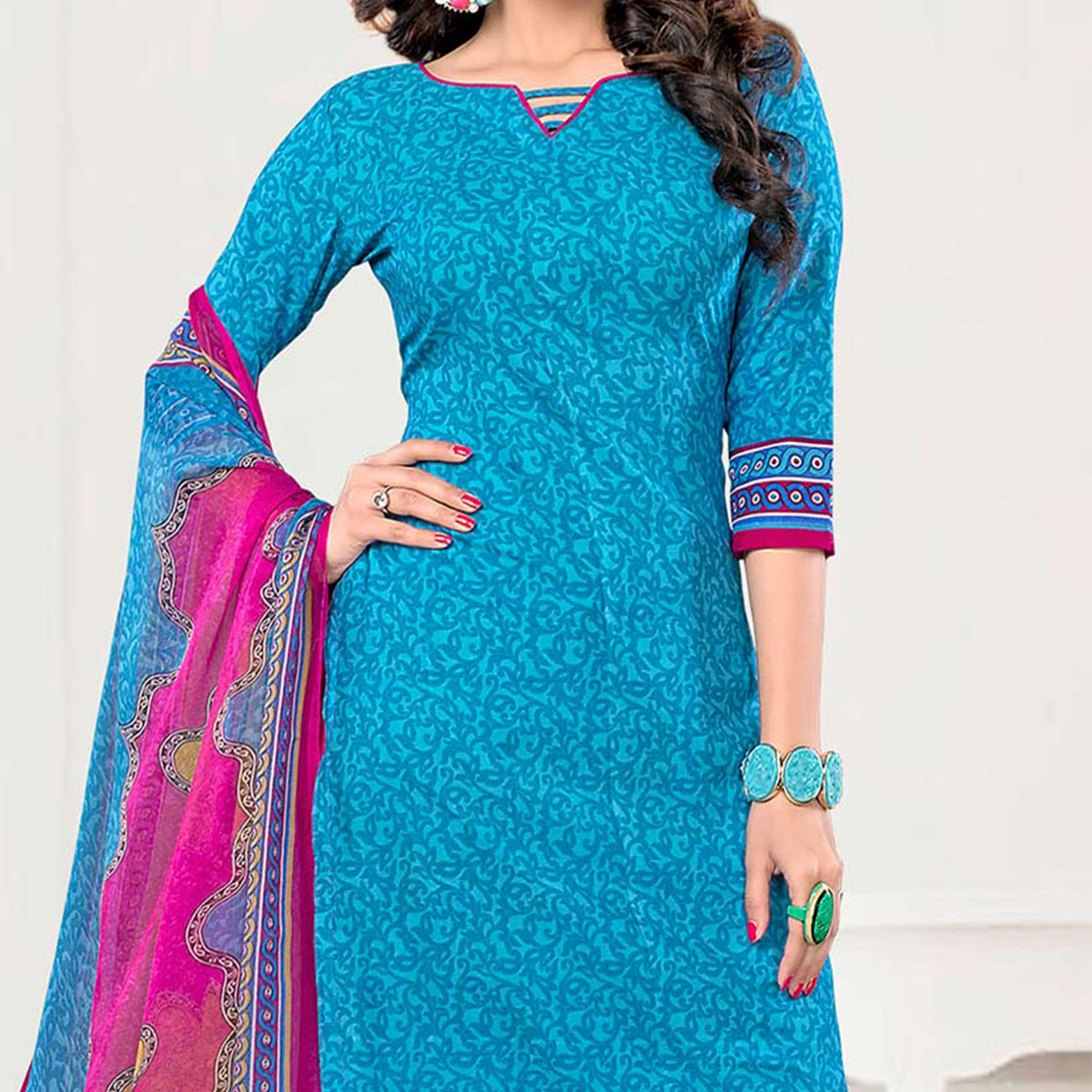 Beige - Blue Unstitched Salwar Suit