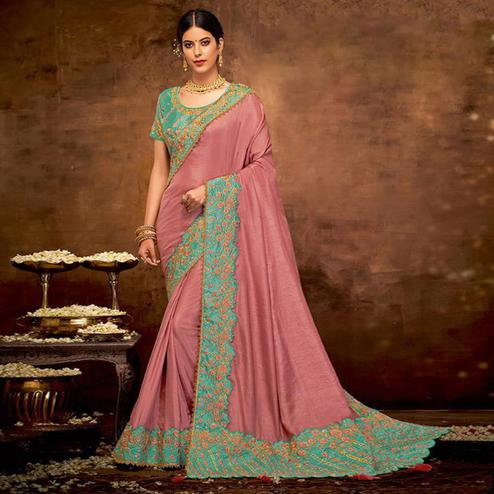 Breathtaking Mauve Colored Partywear Embroidered Silk-Georgette Saree