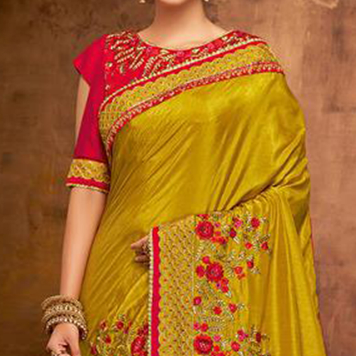 Ethnic Mustard Yellow Colored Partywear Embroidered Satin-Georgette Saree