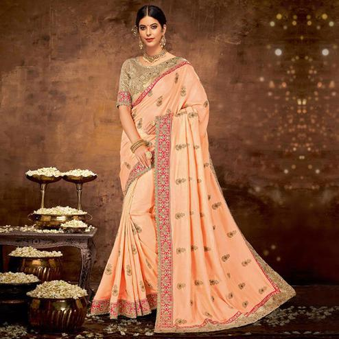 Ravishing Peach Colored Partywear Embroidered Silk-Georgette Saree