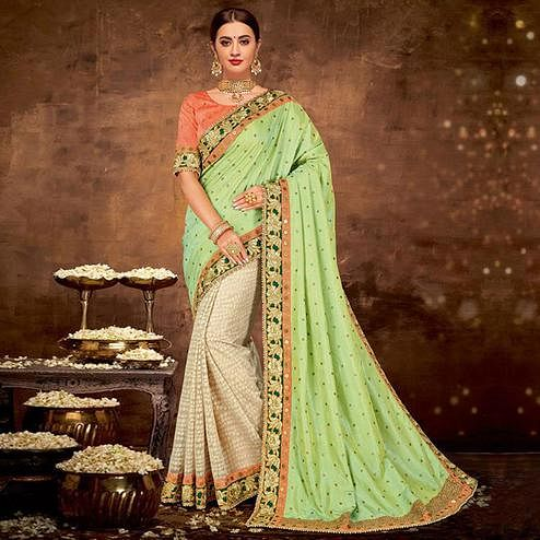 Staring Green-Beige Colored Partywear Embroidered Raw Silk Saree