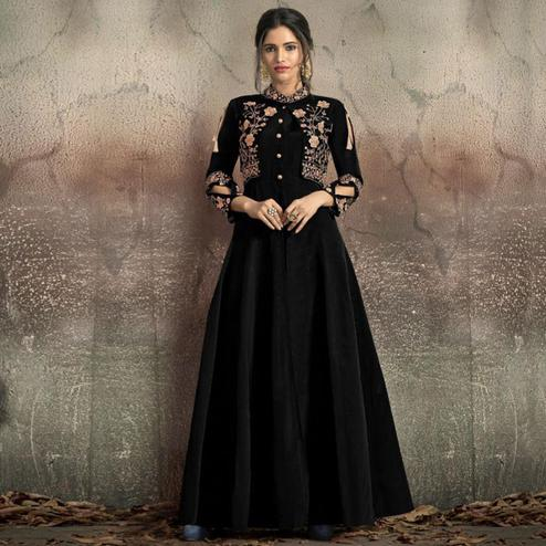 Prominent Black Colored Partywear Embroidered Tapeta Silk Gown