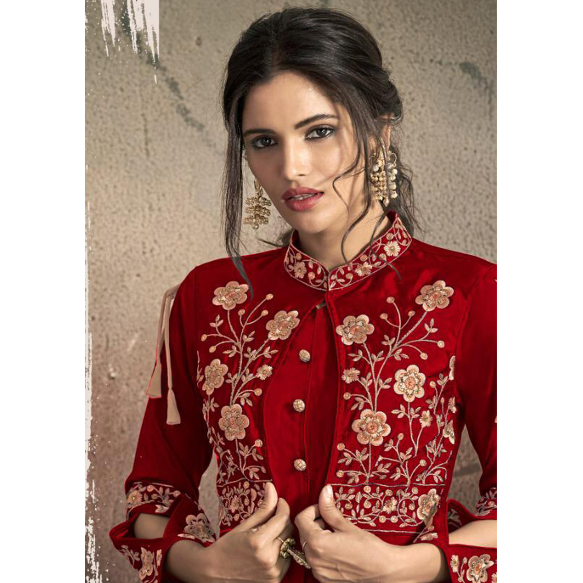 Capricious Red Colored Partywear Embroidered Tapeta Silk Gown