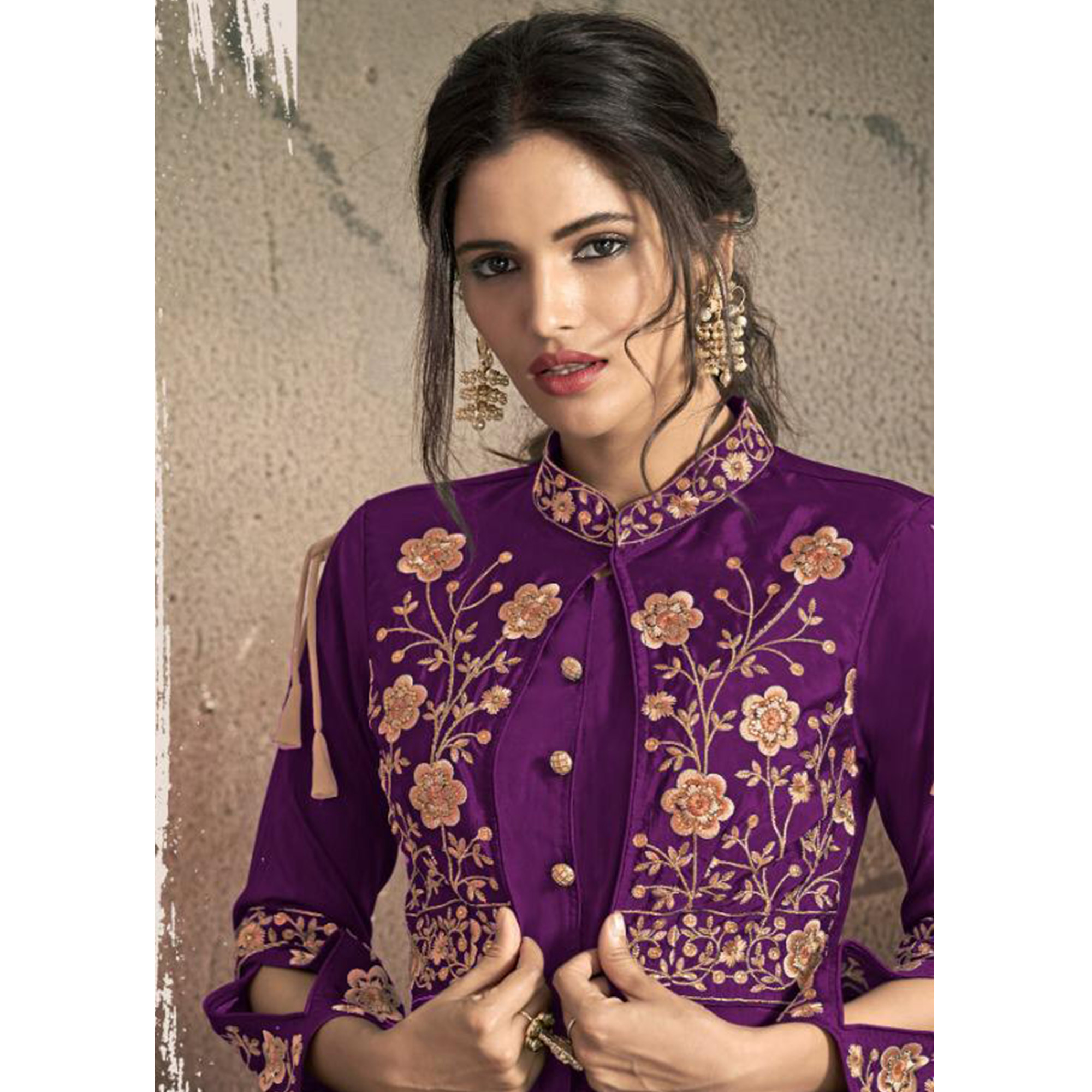 Entrancing Purple Colored Partywear Embroidered Tapeta Silk Gown
