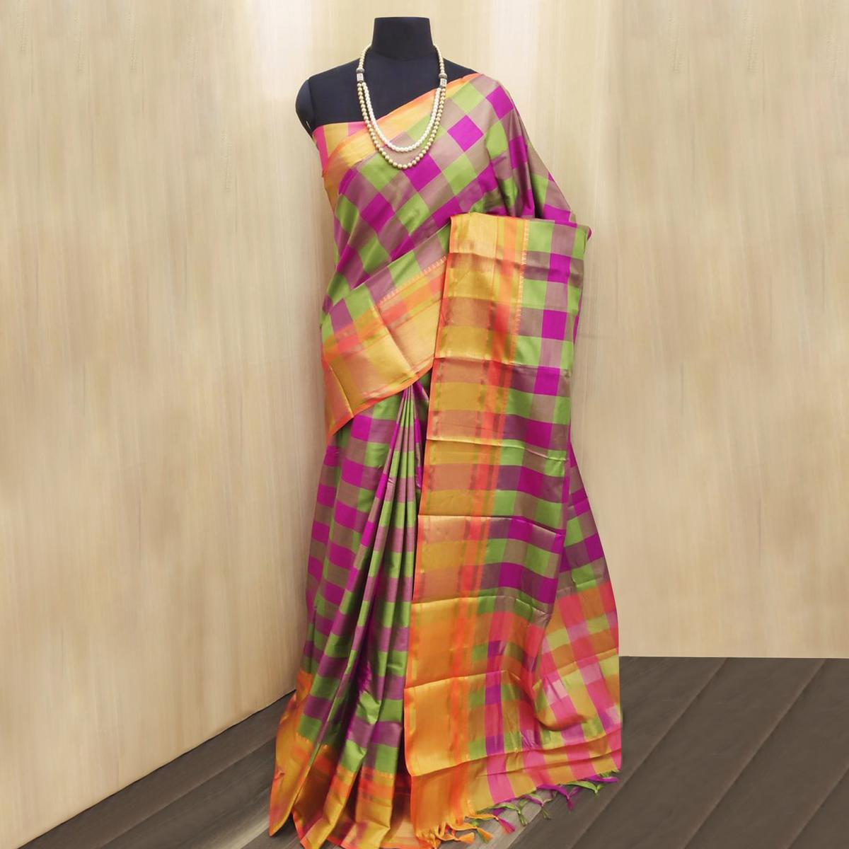 Excellent Pink-Multi Colored Festive Wear Checkered Printed Cotton Silk Saree