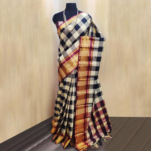 Impressive Black-Cream Colored Festive Wear Checkered Printed Cotton Silk Saree